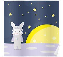 Funny bunny astounaut on the moon Poster