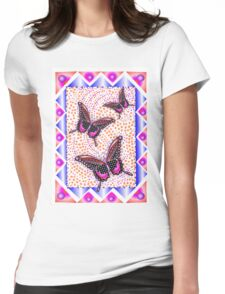 pink butterfly 30 Womens Fitted T-Shirt