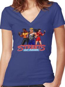 STREETS OF RAGE - AXEL-BLAZE-ADAM  Women's Fitted V-Neck T-Shirt