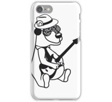 music electro guitar electric guitar party ribbon bass guitar hat cool playing dance club concert hardrock heavy metal teddy bear iPhone Case/Skin