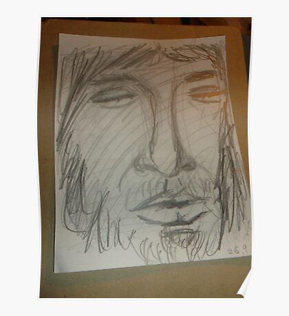 JC Head sketch -(260915)- Graphite stick/Pencil drawing Poster