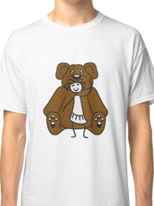 cuddle girl stroking sitting cute little teddy thick sweet cuddly comic cartoon Classic T-Shirt