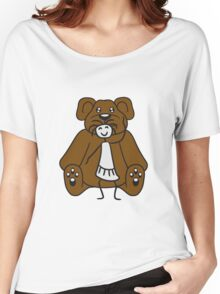 cuddle girl stroking sitting cute little teddy thick sweet cuddly comic cartoon Women's Relaxed Fit T-Shirt