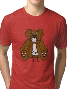 cuddle girl stroking sitting cute little teddy thick sweet cuddly comic cartoon Tri-blend T-Shirt