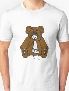 cuddle girl stroking sitting cute little teddy thick sweet cuddly comic cartoon Unisex T-Shirt