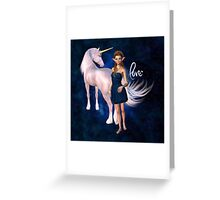 Unicorn Elf Willow Rain Love Greeting Card