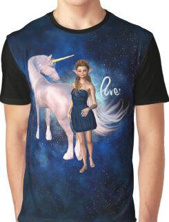 Unicorn Elf Willow Rain Love Graphic T-Shirt