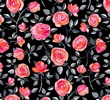 Roses on Black - a watercolor floral pattern by micklyn