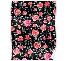 Roses on Black - a watercolor floral pattern Poster