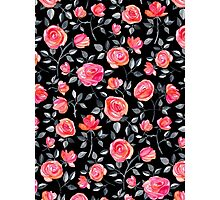 Roses on Black - a watercolor floral pattern Photographic Print