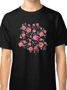 Roses on Black - a watercolor floral pattern Classic T-Shirt