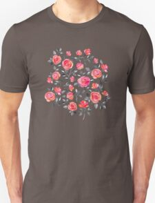 Roses on Black - a watercolor floral pattern Unisex T-Shirt