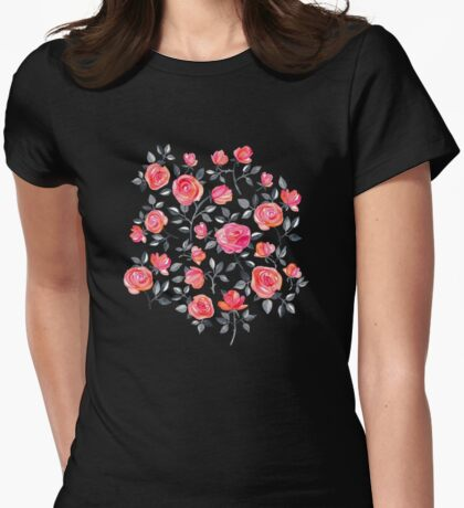 Roses on Black - a watercolor floral pattern Womens Fitted T-Shirt