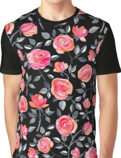 Roses on Black - a watercolor floral pattern Graphic T-Shirt
