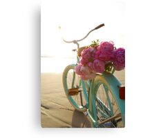 Beach cruiser with peonies #2 Canvas Print