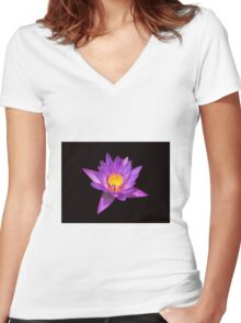 Lotus on black background Women's Fitted V-Neck T-Shirt