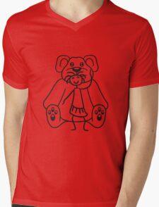 cuddle girl stroking sitting cute little teddy thick sweet cuddly comic cartoon Mens V-Neck T-Shirt