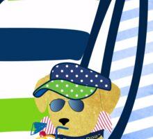 "Preppy Golden Retriever Aboard The Preppie Yacht ""Nauti Dog"" Sticker"