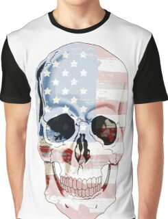 American Flag Skull Sulls Patriotic USA America 'Murica Red White Blue Stars Stripes Graphic T-Shirt