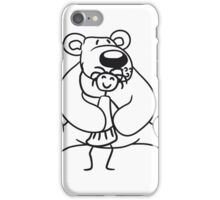fondle girls cuddling stuffed animal polar bear sitting sweet cute comic cartoon teddy bear dick big iPhone Case/Skin