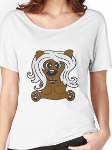 girls, women, female long hair nice pretty sitting Teddy comic cartoon sweet cute Women's Relaxed Fit T-Shirt