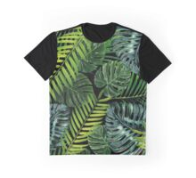 Jungle Tangle Green On Black Graphic T-Shirt
