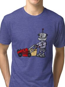 Funny Cool Robot Mowing Lawn Tri-blend T-Shirt