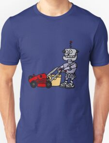Funny Cool Robot Mowing Lawn Unisex T-Shirt