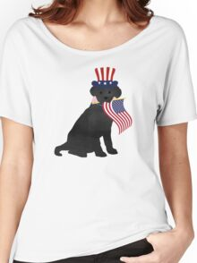 Preppy Patriotic Black Lab Women's Relaxed Fit T-Shirt