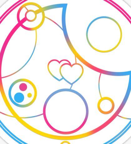 Pansexual in Circular Gallifreyan (w/ hearts) Sticker