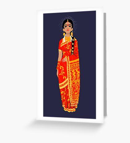 Original Work - Lady in Kanchi Saree Greeting Card