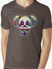 Harley Quinn Skwad Skull Mens V-Neck T-Shirt