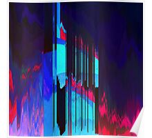 Retro Wave Data Flow - Glitch Art Print Poster