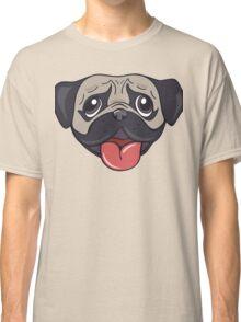 Cartoon pug dog head print Classic T-Shirt
