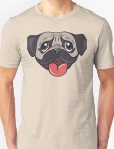 Cartoon pug dog head print Unisex T-Shirt