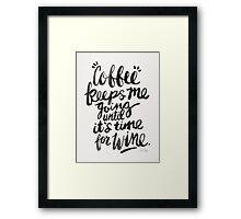 Coffee & Wine – Black Ink Framed Print
