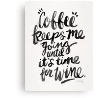 Coffee & Wine – Black Ink Canvas Print