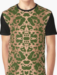 Olive Green and Tan Animal Print Damask Pattern Graphic T-Shirt