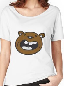 funny comic cartoon bear laughing big grin cuddle grizzly Women's Relaxed Fit T-Shirt