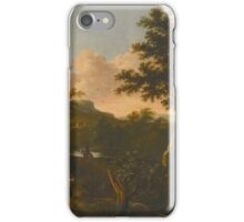 Frederik de Moucheron A WOODED LANDSCAPE WITH A COUPLE AND TRAVELLER ON HORSEBACK BY A RIVER, iPhone Case/Skin