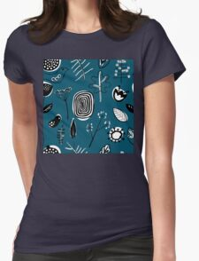 Floral doodle seamless nature pattern print on blue Womens Fitted T-Shirt