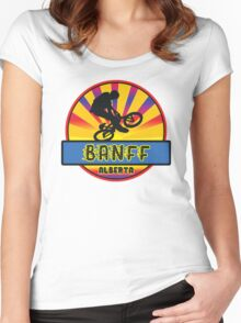 MOUNTAIN BIKE BANFF ALBERTA CANADA BIKING MOUNTAINS Women's Fitted Scoop T-Shirt