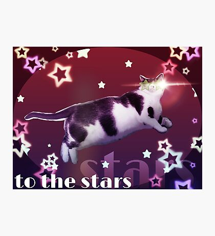 Cat to the Stars! (Pink version) Photographic Print