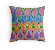 Drops Pears Bottles and an Apple Throw Pillow
