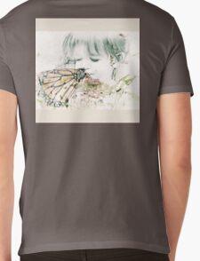 Butterfly Kisses- Beige Border Mens V-Neck T-Shirt