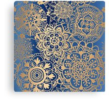 Blue and Gold Mandala Pattern Canvas Print