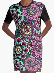 Mandala Pattern Green Pink Yellow Graphic T-Shirt Dress