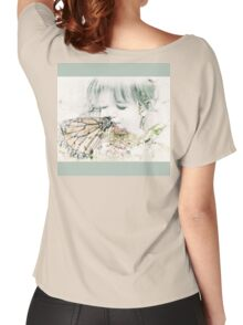Butterfly Kisses- Sage Green Border Women's Relaxed Fit T-Shirt