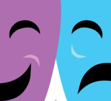 Blue and Purple Comedy and Tragedy Drama Masks Sticker