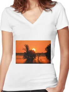 Rays Of Morning Women's Fitted V-Neck T-Shirt